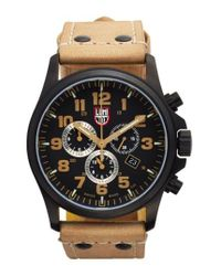 Luminox - Brown 'land - Atacama Field' Chronograph Leather Strap Watch for Men - Lyst