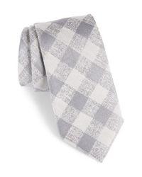Calibrate - Gray Tigrane Check Silk & Cotton Tie for Men - Lyst