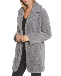 Kenneth Cole | Gray Faux Fur Coat | Lyst