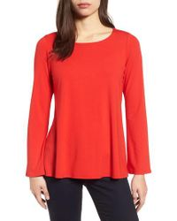 Eileen Fisher - Red Ballet Neck Jersey Top - Lyst