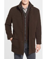 Cole Haan | Brown Wool Blend Top Coat With Inset Bib for Men | Lyst