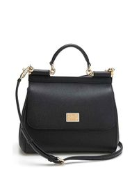 Dolce & Gabbana | Black Miss Sicily Leather Shoulder Bag | Lyst