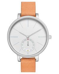 Skagen - Natural 'hagen' Leather Strap Watch - Lyst
