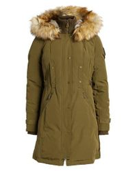 Vince Camuto - Green Faux Fur Trim Down & Feather Fill Parka - Lyst