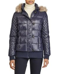 Lauren by Ralph Lauren | Blue Quilted Jacket With Faux Fur Trim | Lyst