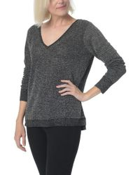 NYDJ - Black Double V-neck Sweater - Lyst