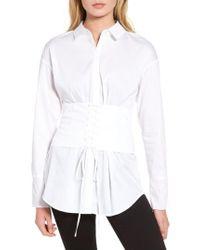 Trouvé | White Corset Stretch Poplin Shirt | Lyst