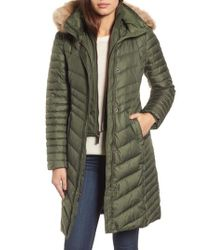 Andrew Marc - Green Chevron Quilted Coat With Genuine Coyote Fur Trim - Lyst