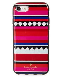 Kate Spade - Red Geo Stripe Iphone 7 & 7 Plus Case - Lyst