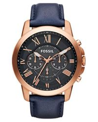 Fossil - Blue 'grant' Round Chronograph Leather Strap Watch - Lyst