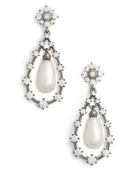 Nadri - Black Simulated Pearl Drop Earirngs - Lyst