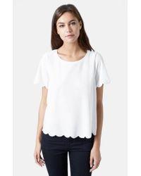 TOPSHOP | Orange Scallop Frill T-Shirt | Lyst