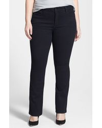 NYDJ | Black 'billie' Stretch Mini Bootcut Jeans | Lyst