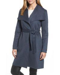 Tahari   Blue Ellie Double Face Wool Blend Wrap Coat   Lyst