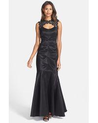 Xscape | Black Lace & Taffeta Mermaid Gown | Lyst