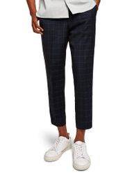 Topman - Black Slim Fit Grid Check Crop Pants for Men - Lyst