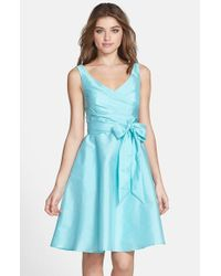 Alfred Sung | Blue Peau De Soie Fit & Flare Dress | Lyst