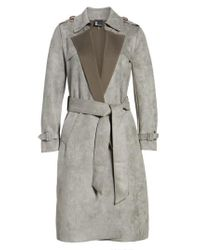 Love Token - Gray Faux Suede Long Trench Coat - Lyst