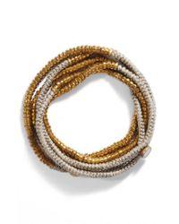 Serefina - Metallic Beaded Wrap Bracelet - Lyst