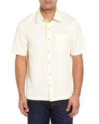 Nat Nast | White 'havana Cloth' Regular Fit Short Sleeve Silk & Cotton Sport Shirt for Men | Lyst