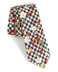 Nordstrom Black Edmond Floral & Check Cotton Skinny Tie for men