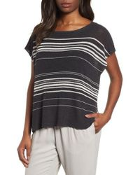 Eileen Fisher - Multicolor Organic Linen Blend Poncho Sweater - Lyst