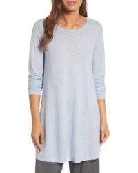 Eileen Fisher | Blue Jewel Neck Tunic Sweater | Lyst