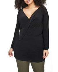 MICHEL STUDIO - Black Faux Wrap Top - Lyst