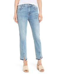 7 For All Mankind | Blue 7 For All Mankind Release Hem Ankle Skinny Jeans | Lyst