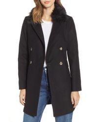TOPSHOP - Multicolor Naomi Faux Fur Collar Coat - Lyst