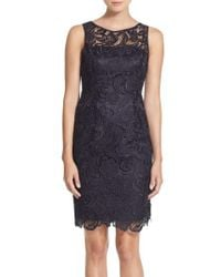 Adrianna Papell - Blue Illusion Bodice Lace Sheath Dress - Lyst