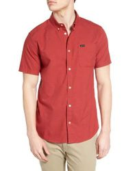 RVCA | Blue 'that'll Do' Slim Fit Short Sleeve Oxford Shirt for Men | Lyst