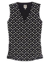 Anne Klein - Black Splashy Dot Matte Jersey Top - Lyst