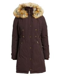 Vince Camuto | Brown Faux Fur Trim Down & Feather Fill Parka | Lyst