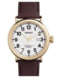 Shinola - Purple 'the Runwell' Leather Strap Watch - Lyst