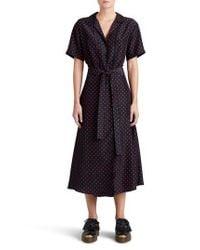 Burberry Black Renata Polka Dot Silk Midi Dress