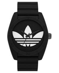 Adidas Originals - Black 'santiago' Silicone Strap Watch - Lyst