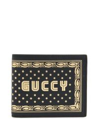32c87a8d56cc17 Lyst - Gucci Print Leather Wallet in Natural for Men