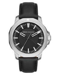 Armani Exchange - Black Three-hand Leather Strap Watch for Men - Lyst