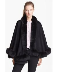 Sofia Cashmere | Black Genuine Fox Fur Trim Short Cashmere Cape | Lyst