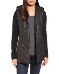 Eileen Fisher - Black Hooded Merino Wool Trim Jacket - Lyst