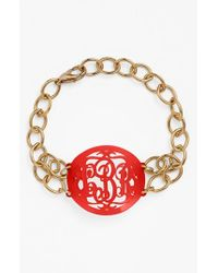 Moon & Lola | Red 'annabel' Medium Oval Personalized Monogram Bracelet (nordstrom Exclusive) | Lyst
