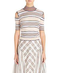 Fendi - White Cold Shoulder Stripe Silk Blend Sweater - Lyst