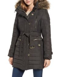 London Fog - Black Belted Down Coat With Faux Fur Trim - Lyst