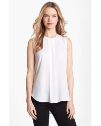 Vince Camuto - White Center Pleat Sleeveless Blouse - Lyst