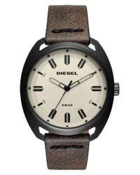 DIESEL | Brown Diesel Fastbak Leather Strap Watch for Men | Lyst