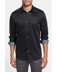 Ted Baker | Black 'plancuf' Modern Slim Fit Stretch Sport Shirt for Men | Lyst
