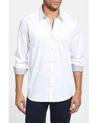 Ted Baker | White 'plancuf' Modern Slim Fit Stretch Sport Shirt for Men | Lyst