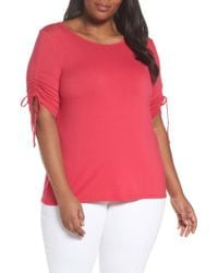 Vince Camuto Pink Drawstring Sleeve Top