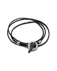 Title Of Work - Black 3-wrap Braided Leather Bracelet for Men - Lyst